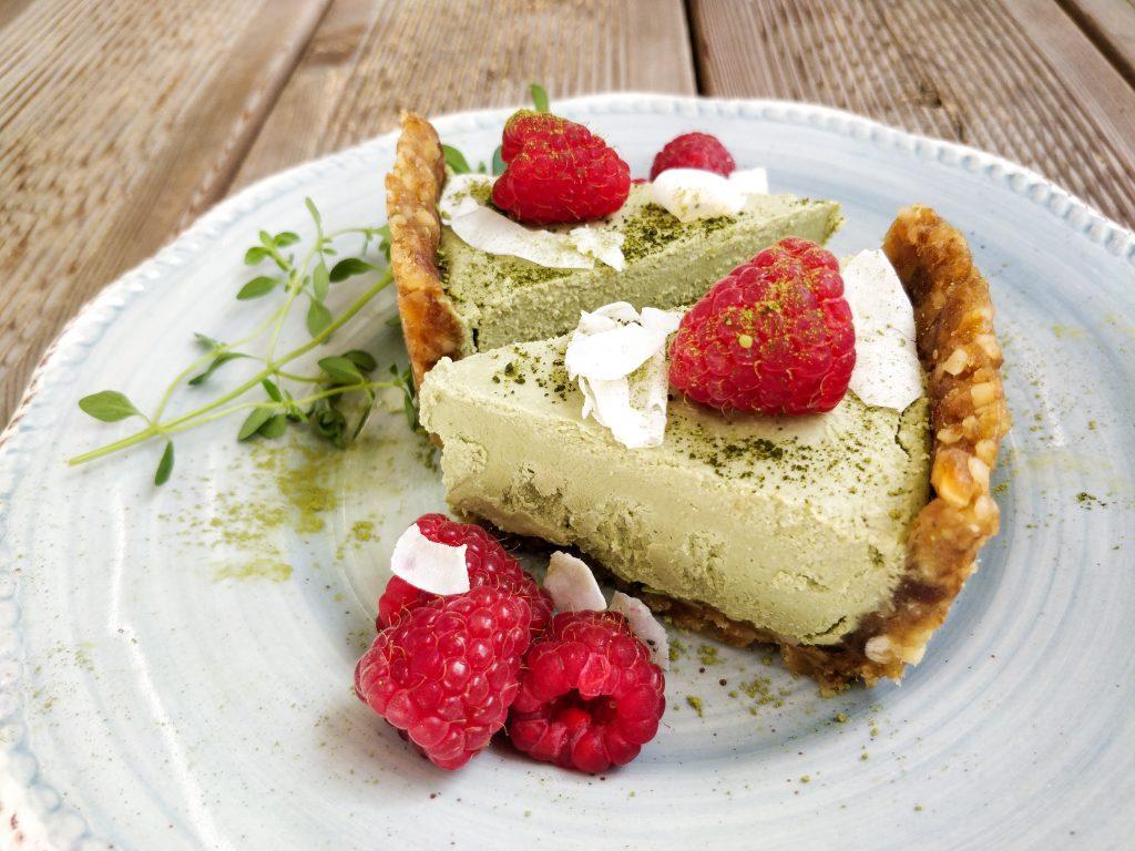 Matcha-Kokos-Cheesecake Stückchen