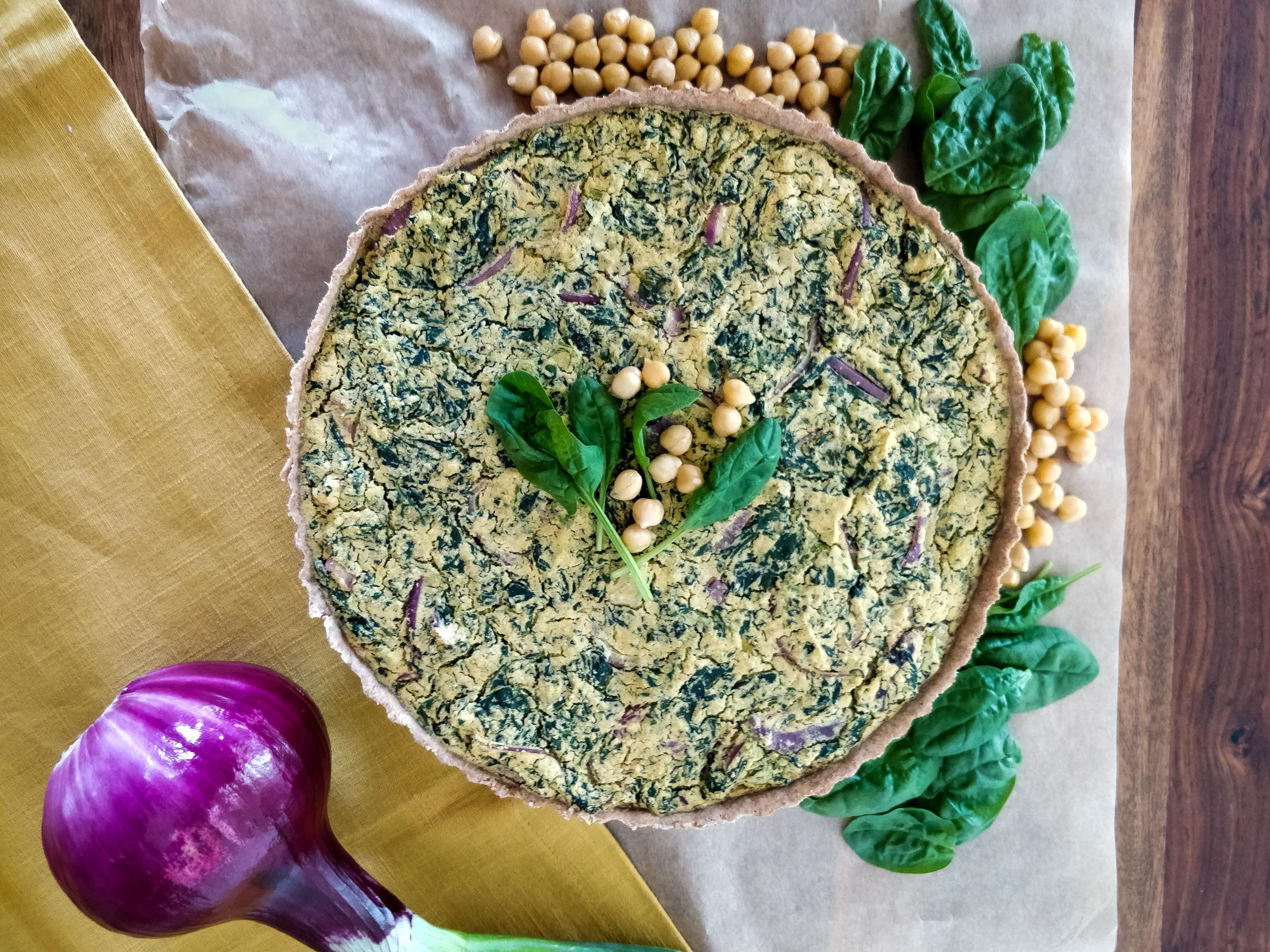 Vegane Spinat-Zwiebel-Quiche