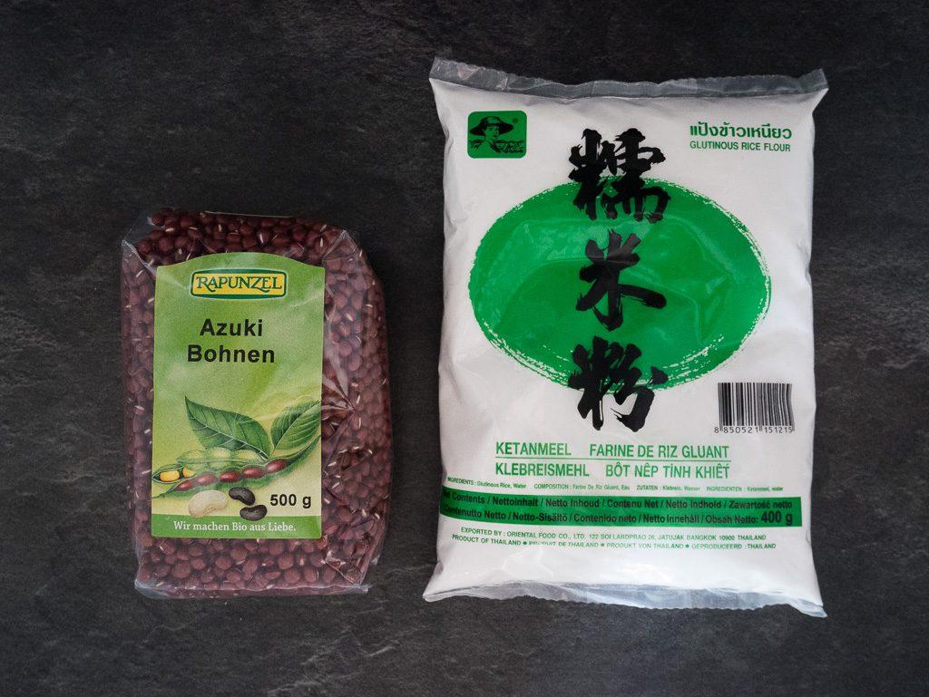 Azukibohnen und Klebreismehl