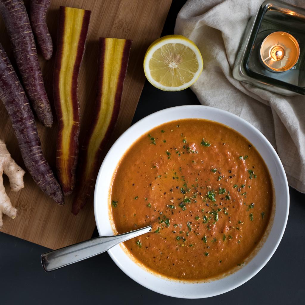 Vegane Karottencremesuppe Purple Haze